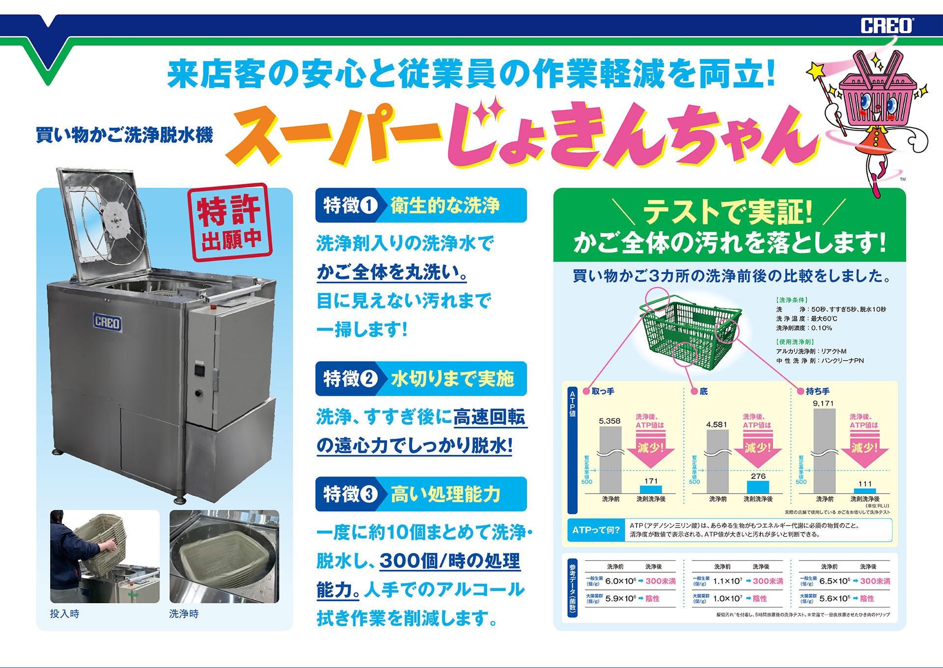 来店客の安心と、従業員の作業軽減を両立!「買い物かご洗浄脱水機 スーパーじょきんちゃん」