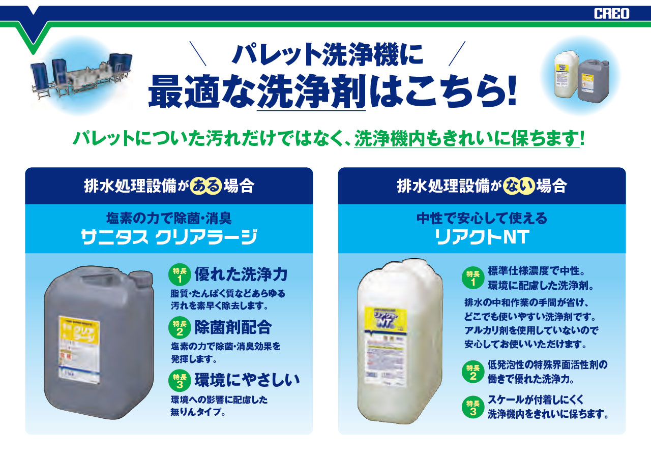 パレット洗浄機に最適な洗浄剤はこちら!